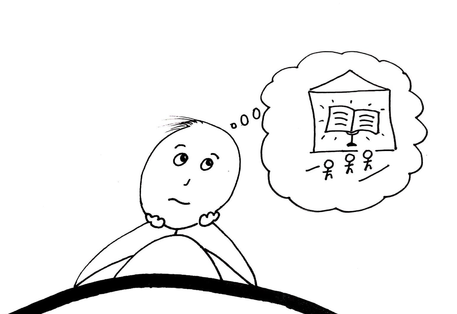 Dibujo de hombre meditando sobre su deseo de ir al templo.